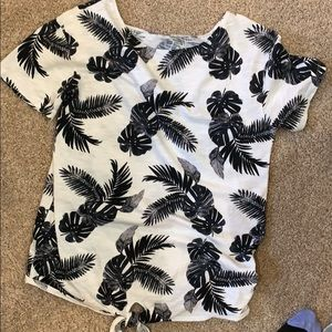 T shirt with tie at bottom